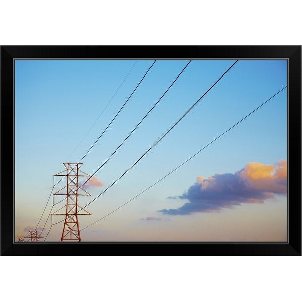 """""""Power lines and blue sky with clouds"""" Black Framed Print"""