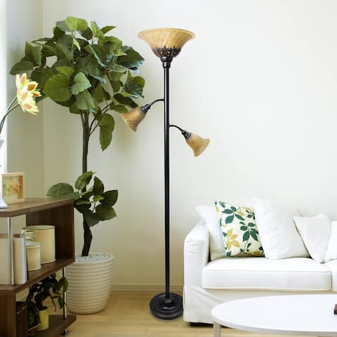 Copper Grove Armlin Bronze Iron 3-light Floor Lamp with Scalloped Glass Shades