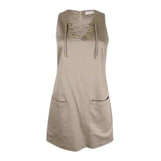 Calvin Klein Women's Sleeveless Lace-Up Sheath Dress (Khaki, 4P) - KHAKI - 4P