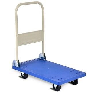 Costway 220lbs Platform Cart Folding Dolly Hand Truck Push Foldable Moving Warehouse