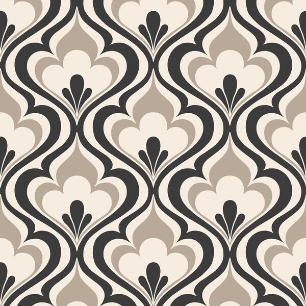 Brewster 2535-20602 Lola Black Ogee Bargello Wallpaper - N/A