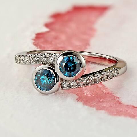 Auriya 14k Gold 3/4ctw Round Bezel-set 2 Stone Blue Diamond Engagement Ring