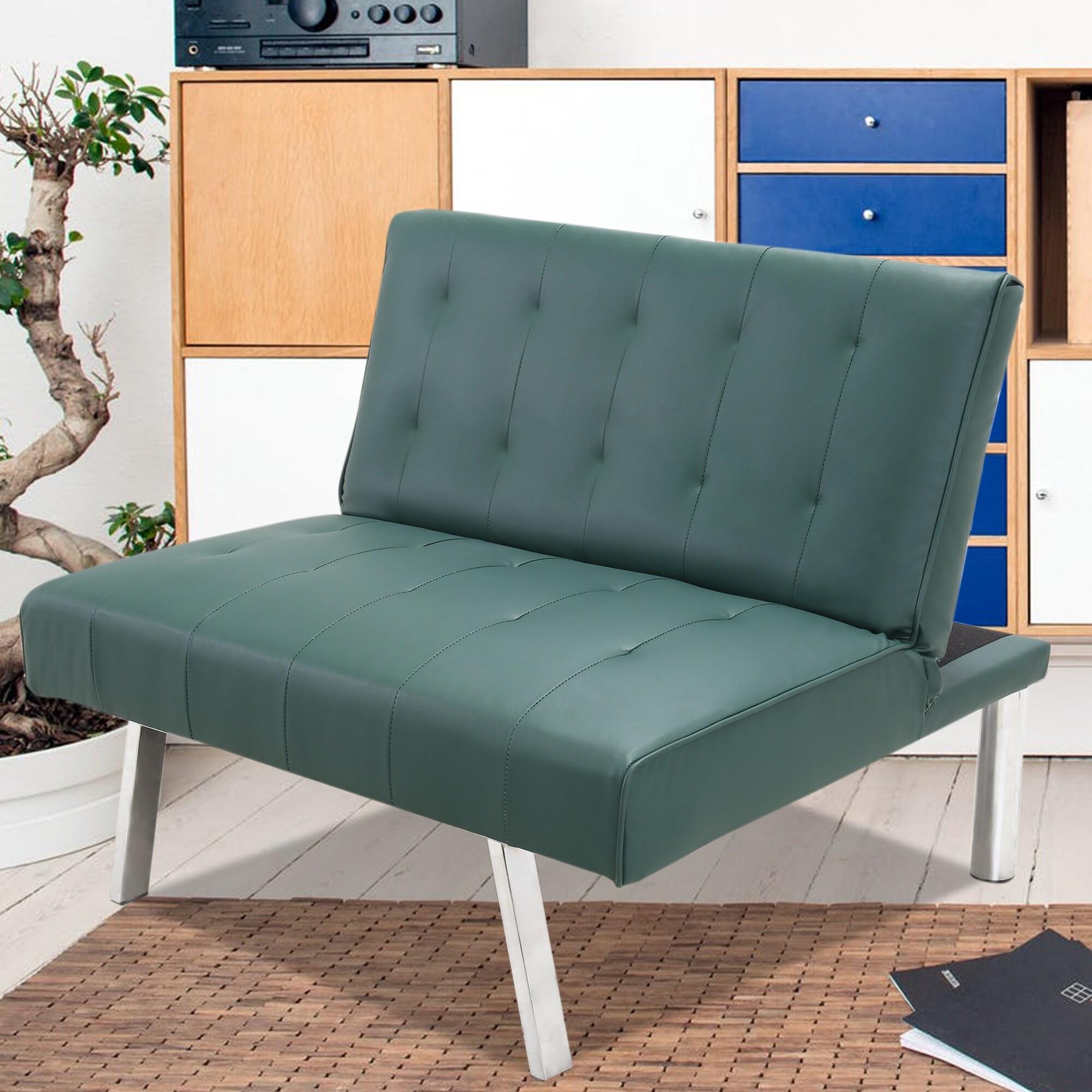 Pu Leather Convertible Folding Sofa