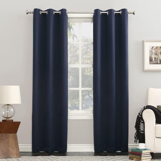 Sun Zero Hayden Energy Saving Blackout Grommet Curtain Panel, Single Panel - 40x54 - Navy