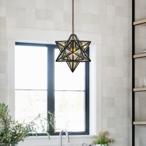 1-Light Antique Copper Star Pendant Lamp With Handmade Clear Glass