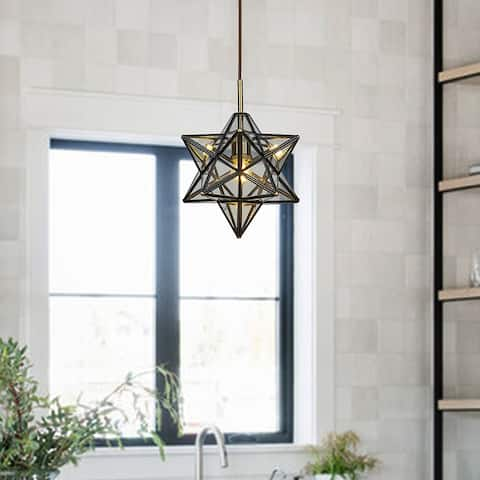 1 Light Vintage Brown Star Ceiling Pendant Lamp with Clear Glass