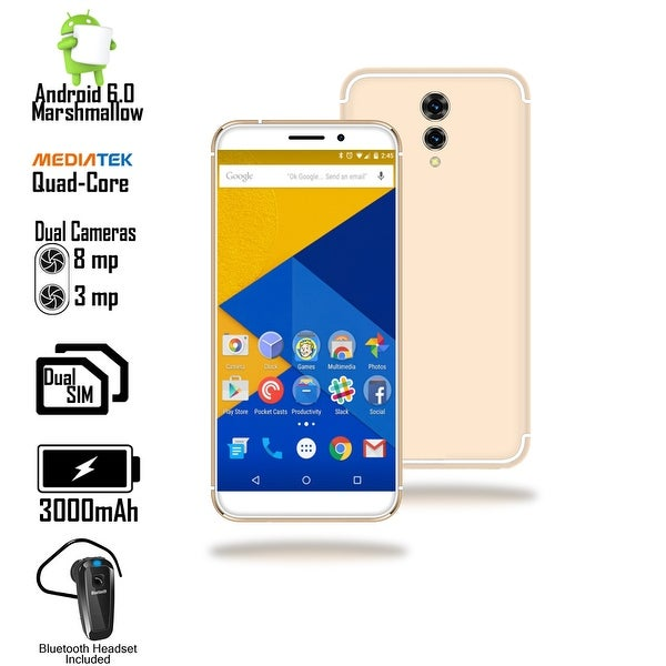 Indigi Unlocked 4G LTE 5.6inch Android 6 QuadCore 1.3GHz SmartPhone (Fingerprint Scanner + DualSIM Slots) + Bluetooth Headset