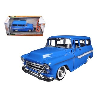 1957 Chevrolet Suburban Blue Just Trucks with Extra Wheels 1/24 Diecast Model by Jada
