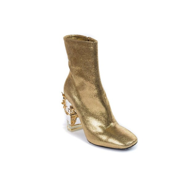 Roberto Cavalli Womens Gold Embellished Heel Ankle Boots