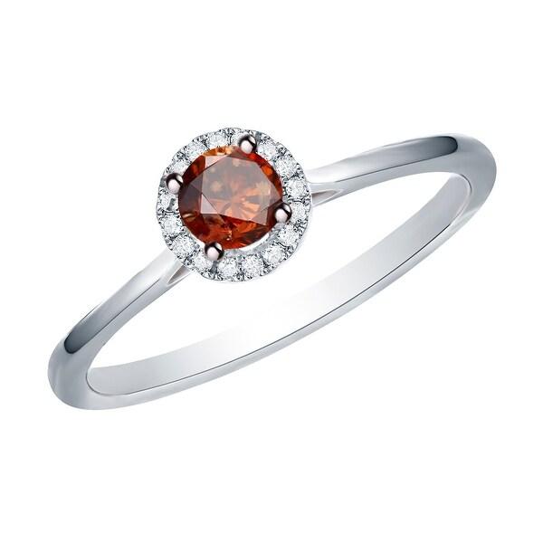 Prism Jewel 0.37 Ctw Classic Cognac Color Diamond with Diamond Engagement Halo Ring