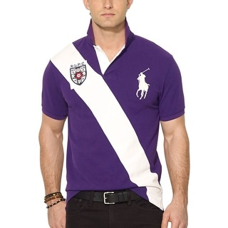 Polo Ralph Lauren Banner Stripe Rugby Polo Shirt Purple and White Small S