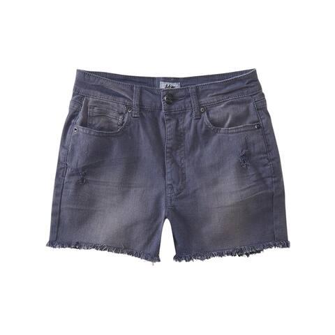 Aeropostale Womens High-Waisted Casual Denim Shorts, grey, 000 Size