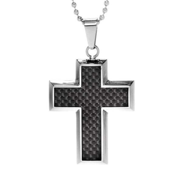 Chisel Titanium 44mm Polished Cross with Carbon Fiber Inlay on 22 Inch Bead Chain Necklace (2 mm) - 22 in