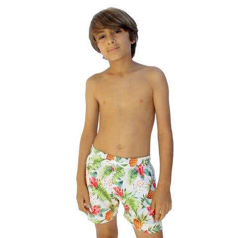 Azul Boys Multi Color Drawstring Tie Don't Leaf Swimwear Shorts