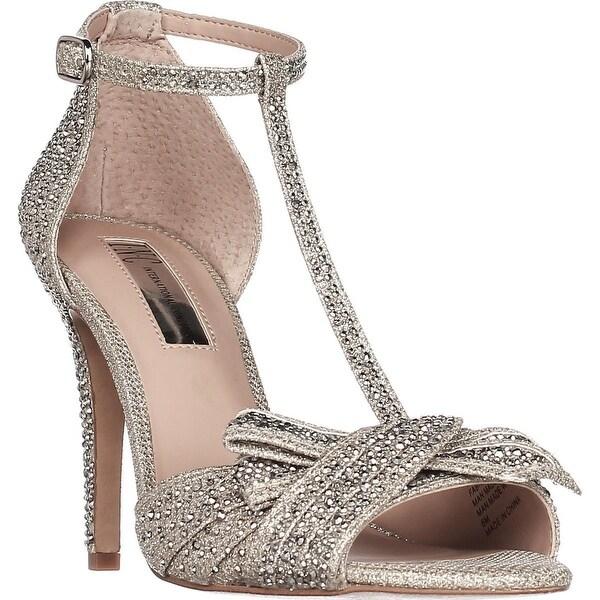 I35 Risha2 Embellished Knot Detail Evening Sandals, Champagne