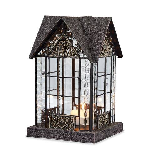 House Candle Lantern - Devonshire House Tealight Holder - Brown - 6 in. x 6 in. x 9.13 in.