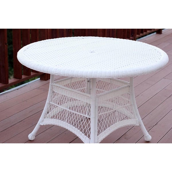 44 5 White Resin Wicker Weather Resistant All Season Outdoor Patio Dining Table Free Shipping Today 16763159