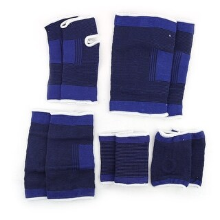 Men Cotton Blends Elastic Knee Wrist Elbow Palm Ankle Support Strap Blue 5 in 1