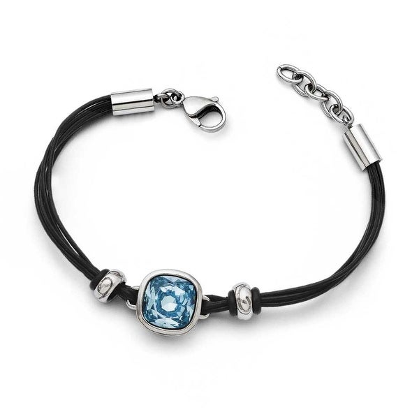 Chisel Stainless Steel Polished Blue Glass Leather with 1in ext. Bracelet