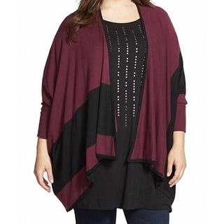 Sejour NEW Purple Reversible Cape Women 0X/1X Plus Cardigan Sweater