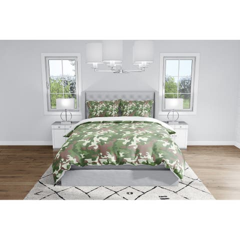 CAMO FLOW GREEN BROWN Duvet Cover By Kavka Designs