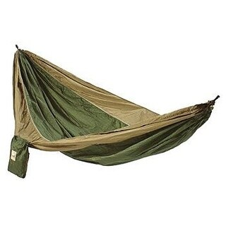 Hammaka 2-Person Parachute Silk Hammock Lightweight & Portable - Army Green/Brown