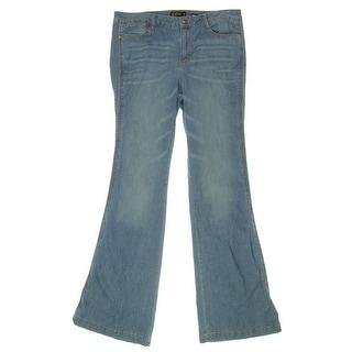 Suede Womens Farrah High Rise Medium Wash Flare Jeans