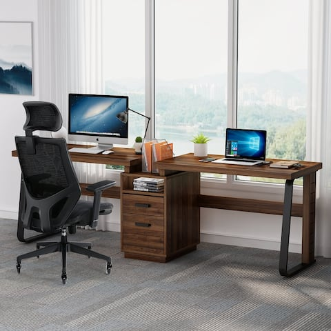 """94.5"""" Two Person Desk with Cabinet"""