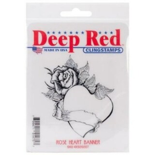Deep Red Stamps Heart with Roses Rubber Cling Stamp - 2.2 x 2