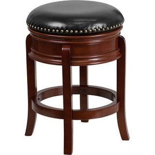Estella 24'' Backless Light Cherry Wood Counter Stool w/Black Leather