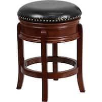 Estella 24'' Backless Light Cherry Wood Counter Stool w/Black Leather Swivel