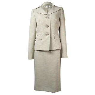 Evan Picone Women's Classic Time Notch Pocket Woven Skirt Suit - Flax