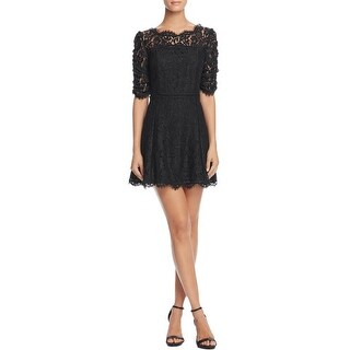 Joie Womens Riya Cocktail Dress Lace Rouched Sleeve