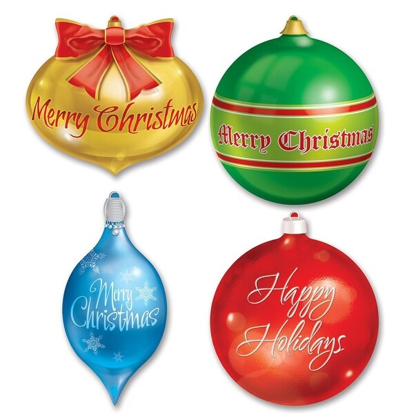 Pack of 12 Double Sided Christmas Ornaments Cutout Decorations 1.15'- 1.25' - multi