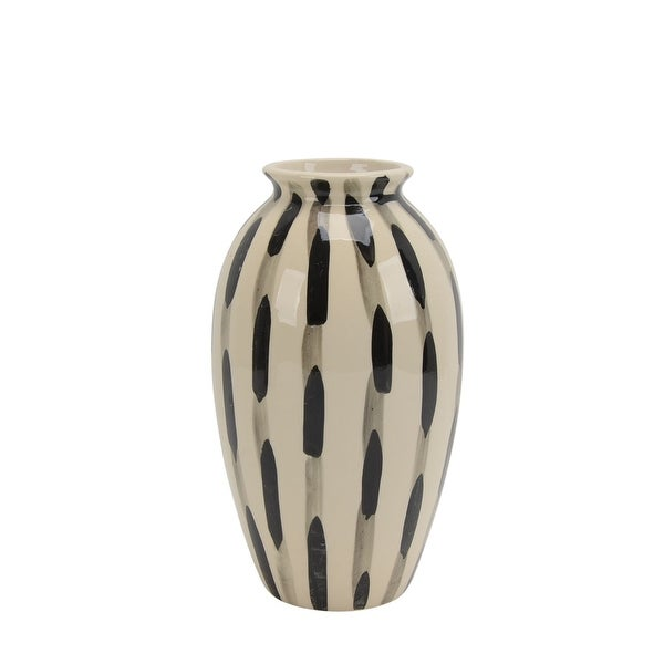 Transitional Style Ceramic Vase with Circular Opening, Black and White
