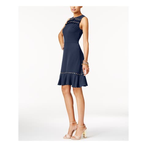 MICHAEL KORS Navy Sleeveless Knee Length Fit + Flare Dress Size S