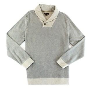 Tasso Elba NEW Beige Mens Size Small S Geo Print Shawl Collar Sweater