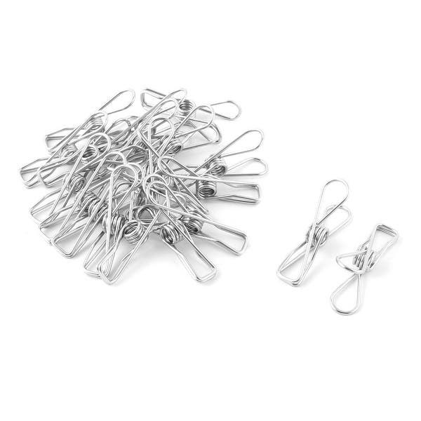 20Pcs Stainless Steel Clothes Pegs Hanging Pins Clips Laundry Metal ClampsNF