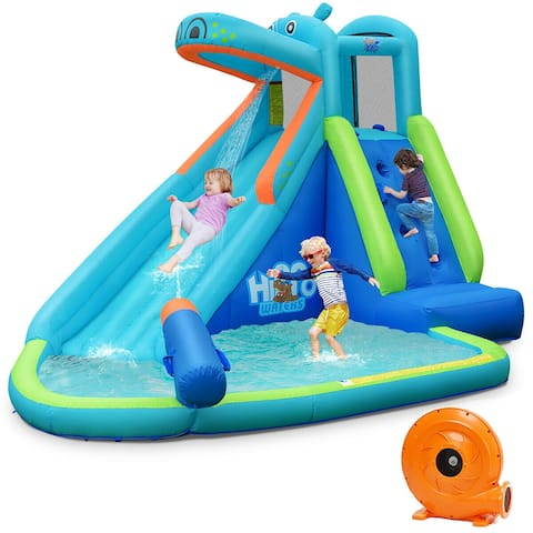 Costway Inflatable Kids Hippo Bounce House Slide Climbing Wall Splash