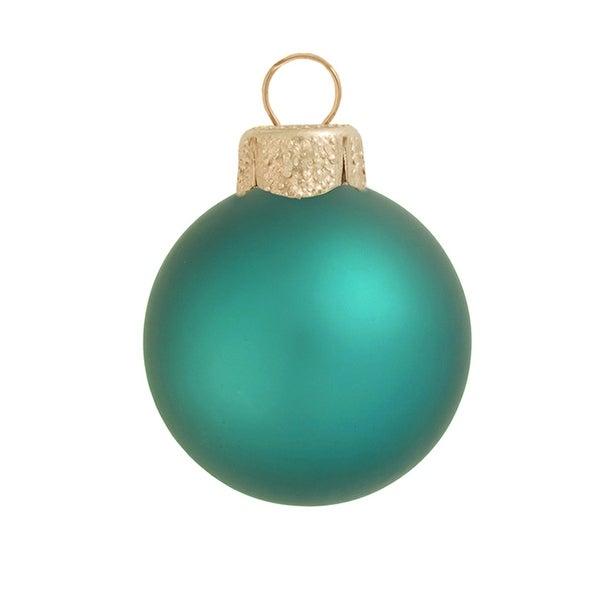 "28ct Matte Teal Green Glass Ball Christmas Ornaments 2"" (50mm)"