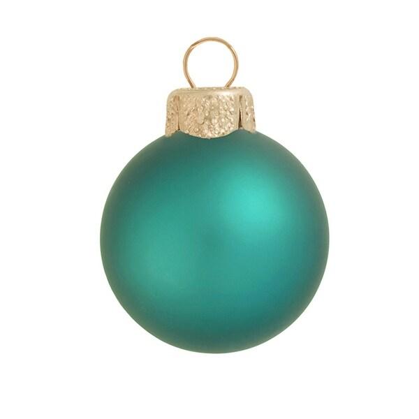 "8ct Matte Teal Green Glass Ball Christmas Ornaments 3.25"" (80mm)"