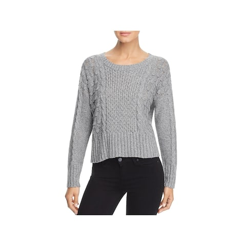 Design History Womens Sweater Textured Cable Knit - Heather Grey
