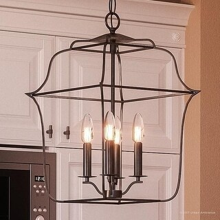 "Luxury Colonial Chandelier, 20""H x 14""W, with Minimalist Style, Bird Cage Design, Vintage Black Finish"