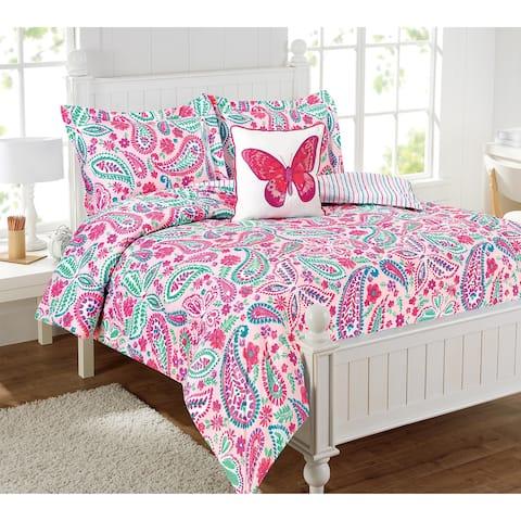Watercolor Flutter Pink Floral Multi-Piece Comforter Bedding Set