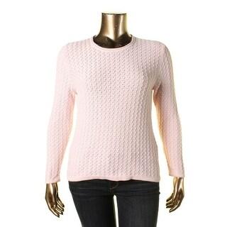 Karen Scott Womens Petites Textured Long Sleeves Pullover Sweater