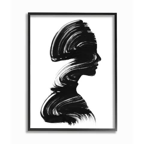 Stupell Industries Female Silhouette Brush Stroke Portrait Minimal Black White Framed Wall Art
