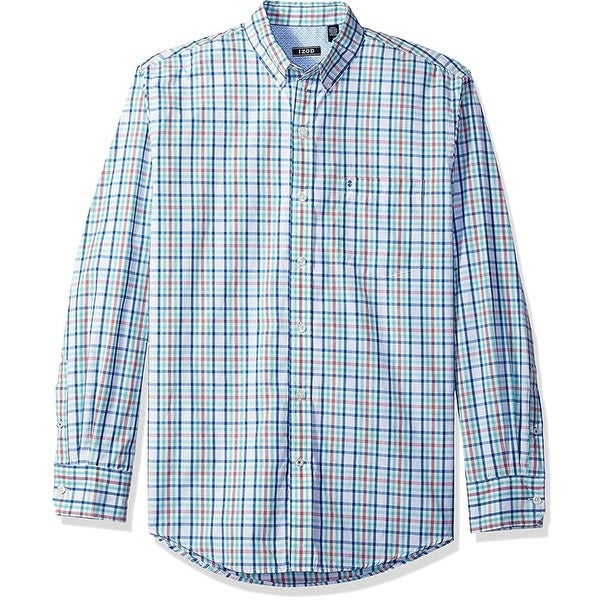 IZOD Mens Breeze Plaid Button Up Shirt, Blue, Small. Opens flyout.