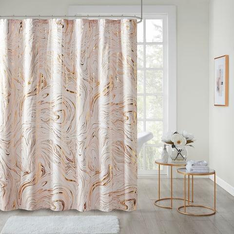 Intelligent Design Natalia Blush/Gold Printed Marble Metallic Shower Curtain