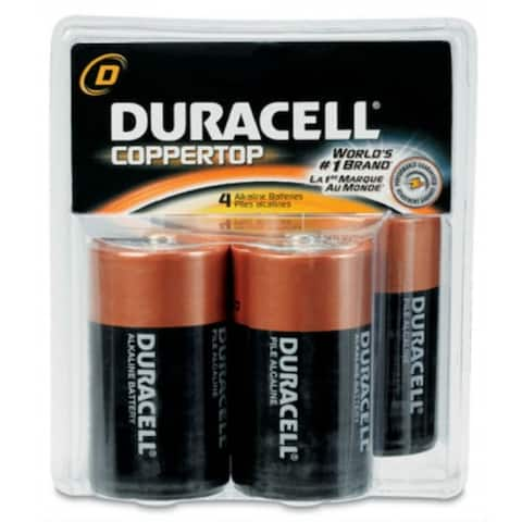 Duracell MN1300R4Z Alkaline D Battery, 1.5 Volt, 4/Pack