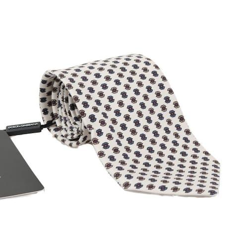 Dolce & Gabbana White Silk Pattern Men's Tie - One Size